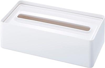 山崎実業(Yamazaki) トレイ付きティッシュケース ホワイト 約W26.5×D13.5×H8.2cm スマート 2324