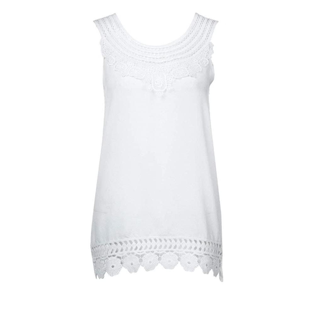 Dressin Women's Tank Tops Sexy Round Neck Solid Color Lace Trim T Shirt Summer Loose Vest for Women Girls