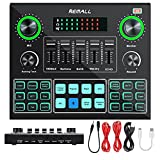 Sound Card with Voice Changer, REMALL Audio Mixer Podcast Bluetooth Live Sound Board for iPhone PC Phone Microphone, 14 Sound Effects Mixer for Streaming, Recording, Gaming, YouTube Tiktok Broadcast