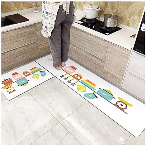 OPLJ Alfombra de Entrada al baño, Alfombra de Puerta de Cocina, Alfombra de Piso Antideslizante Lavable, Alfombra de Puerta de Dormitorio y Sala de Estar Moderna A5 50x80cm + 50x160cm