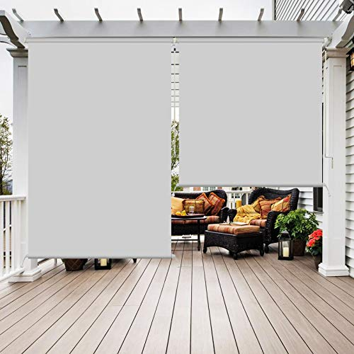 SunboxCordless Outdoor Waterproof RollerShades,GreyBlackout RollupWindowBlinds Windproof Outdoor Curtains, Privacy and UV ProtectionforPorch, Patio, Deck, Balcony, Pergola