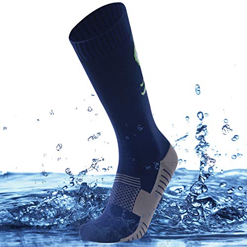 SuMade Over Calf Waterproof Socks Long, Unisex Women Best 100% Water Resistant Dry Fit Padded Coolmax Breathable Comfy Mountain Bike Climbing Hiking Camping Biking Boot Socks 1 Pair (Blue, Small)