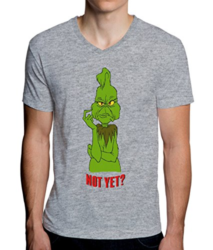 Grinch Waiting for Christmas Men's V-Neck T-Shirt XX-Large