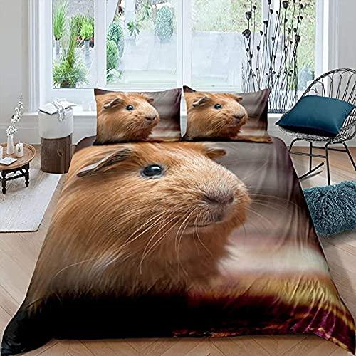 HSBZLH Edredon Nordico 3 Piezas Funda Nórdica Conejillo Indias Lindo Juego Cama Tema Mascota Edredón Patrón Animales En 3D Colcha Decoración Ultra Suave Lovey Cavy 2 Fundas Almohada