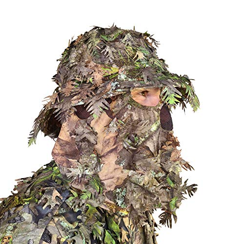 QuikCamo Small Mossy Oak Obsession (NWTF) Camo Bucket Hat with Built-in 3D Leafy Face Mask, Turkey Hunting Gear for Ghillie Suits and Bowhunting (Small)