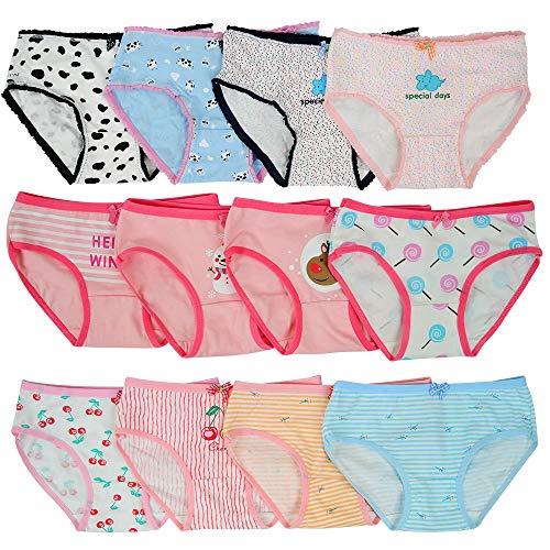 Kidear weiche Baumwoll.Unterwäsche für Babys und Kleinkinder, Slips für Mädchen, 12er-Pack, Alter 2-12 Jahre Gr. 4- 6 Jahre, stil 1
