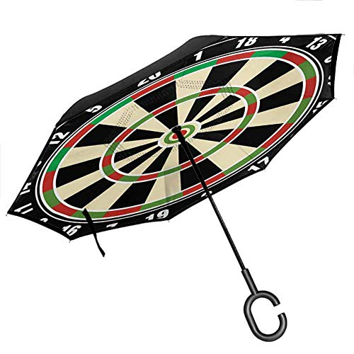 Sports Inverted Umbrella Dart Board Numbers Sports Accuracy Precision Target Leisure Time Graphic Reverse Long Umbrellas, Outdoor Use for UV Protection & Rain, Vermilion Green Black 42.5'x31.5'Inch