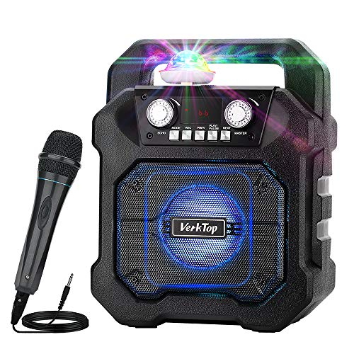 VerkTop Portable Karaoke Machine,Wireless Bluetooth Speaker for Kids & Adults Rechargeable PA System with Disco Ball Wired Microphone for Party/Wedding/Meeting/Christmas/Performance