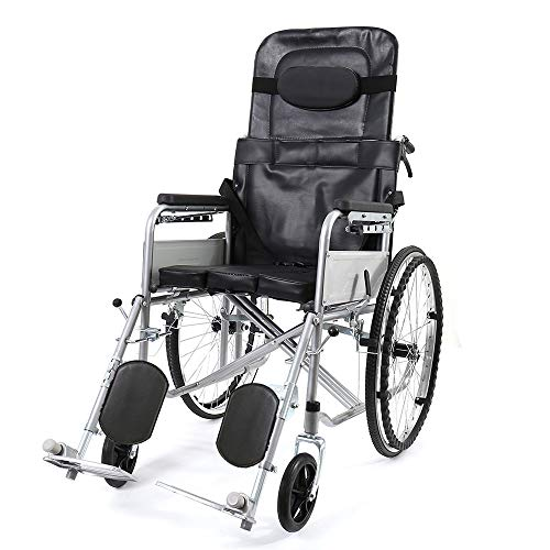Folding Lightweight Wheelchairs Portable Full Lying High Back Transit Travel Wheelchairs with Lapbelt for Elderly Disabled Person