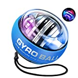 MOFOPAKOO Upgraded Auto-Start Power Ball with Digital LCD Counter Wrist Trainer Ball Gyro Ball for Forearm Exercise and Wrist Strengthening with LED Lights (Colourful Light-Blue)