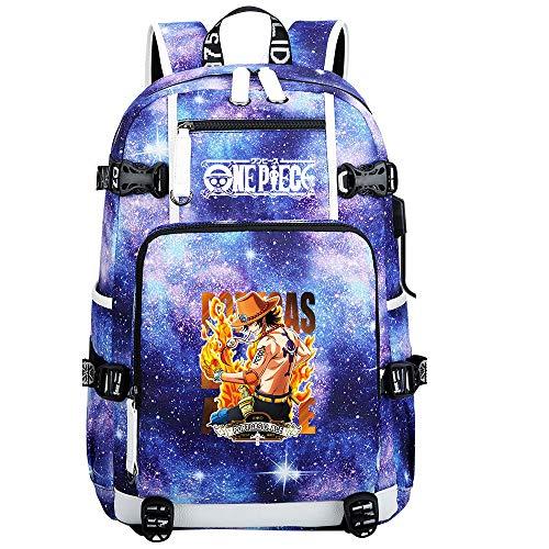 ZZGOO-LL One Piece Monkey·D·Luffy/Portgas·D· Ace Anime Cosplay Bookbag College Bag Mochila Mochila Escolar con Puerto de Carga USB-A