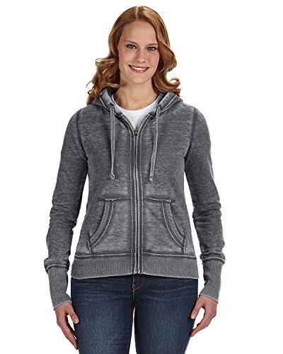 J America Ladies' Zen Full-Zip Fleece Hood M DARK SMOKE