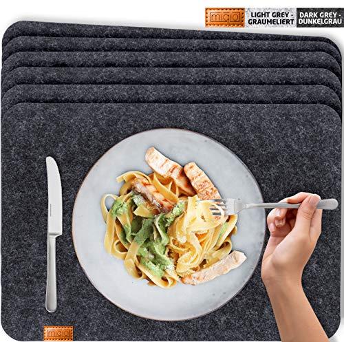 Miqio® - Design Tischset aus Filz | Marken Label aus echtem Leder | 6er Set Platzset (dunkel grau anthrazit) abwaschbar | Filzmatte Tisch Untersetzer Platzdeckchen abwischbar