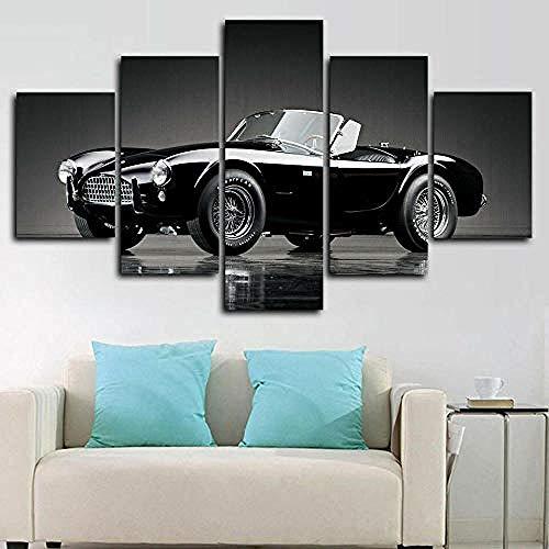 5 Stücke Wandkunst Malerei Das Bild Druck Auf Leinwand Kunstwerk Bilder für Zuhause Büro Moderne Dekoration 1963 Shelby Cobra V8 Auto -Mit Rahmen