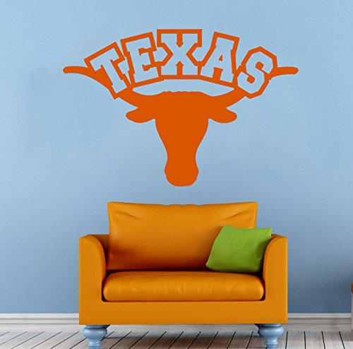 Texas Longhorns Wall Vinyl Decal Sticker NCAAF College Football Sport Home Interior Removable Decor (22