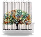 Canvbay Tree Shower Curtain Colorful Blooming...