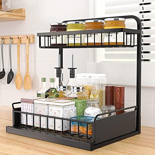 organizador de especias Especiero, Estante de metal de 2 pisos para cocina giratorio estanteria especies armarios estanterías de madera