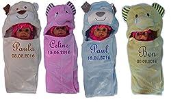 Baby Einschlagdecke mit Namen bestickt Babydecke 3d Kapuze Geschenk Taufe Geburt (rosa)