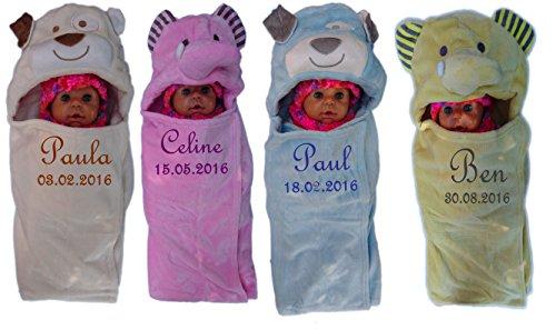 Baby Einschlagdecke mit Namen bestickt Babydecke 3d Kapuze Geschenk Taufe Geburt (gelb)