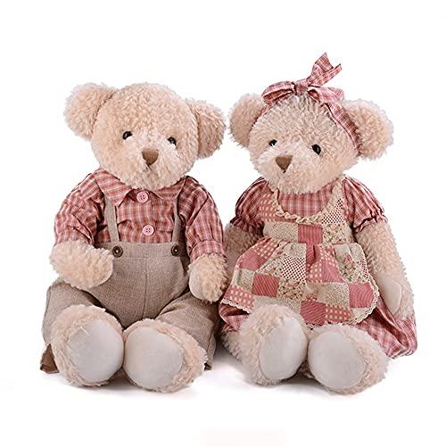 Teddybär, Teddybär-Paar, Geschenk Für Liebhaber, Pastorale Karierte Kleidung, 26 Zoll (Color : Rice Bear in pink)