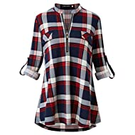 DILISHA Women's Plaid Shirt 3/4 Roll Up Sleeve Zipper V Neck Casual Blouses Tunic Tops