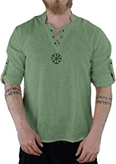 Disfraz de Lino Medieval para Hombre, túnica, Cuello en V, Traje de Manga Larga, Camisa vikinga, Camisa Pirata Hippie, Abuelo