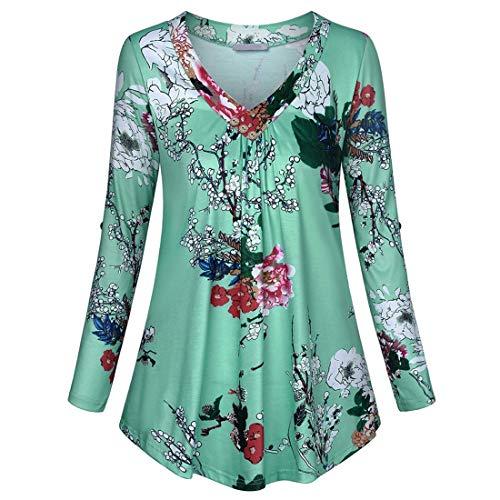 Damen T-Shirt Langarm Freizeit Bequemer Sweatshirt Mode V-Ausschnitt Drucken Falten...