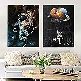 ganlanshu Espacio Abstracto Astronauta decoración Pintura al óleo Lienzo póster Sala Cartel e impresión,Pintura sin Marco,60X90cmx2