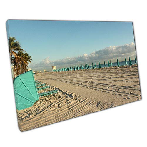 Kunstdruck auf Leinwand, Motiv Strandmöbel, fertig zum Aufhängen, ca. 70 x 50 cm