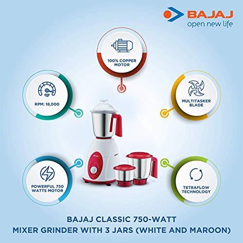 Bajaj Classic 750-Watt Mixer Grinder with 3 Jars (White and Maroon).