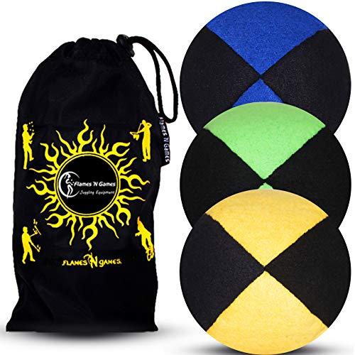 Jonglierbälle 3er Set: Profi Beanbag Bälle aus Velours +Tasche. Set Für Anfänger Wie Auch Für Profis. (Schwarz mit Blau/Grün/Gelb)