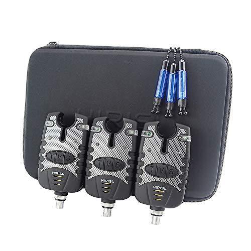Hirisi Tackle Lot de 3détecteurs de touches + 3écureuils avec étui de protection à fermeture éclair