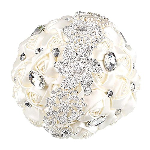 Soledì Bouquet Sposa Seta Bianco con Cristallo Bouquet Matrimonio 27*17,5*17,5cm