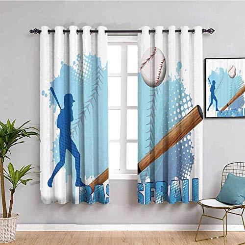 LucaSng Cortinas de Opacas - Azul Creativo Deportes béisbol. - 160x115 cm - para Sala Cuarto Comedor Salon Cocina Habitación - 3D Impresión Digital con Ojales Aislamiento Térmico Cortinas