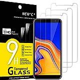 NEW'C 3 Unidades, Protector de Pantalla para Samsung Galaxy J4 Plus, Galaxy J4+, Antiarañazos, Antihuellas, Sin Burbujas, Dureza 9H, 0.33 mm Ultra Transparente, Vidrio Templado Ultra Resistente