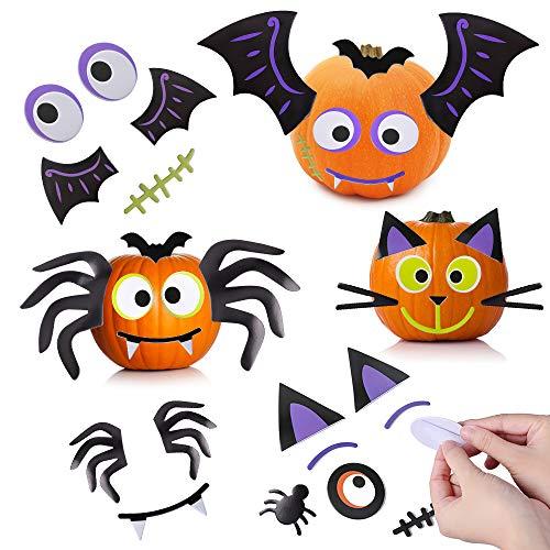 Halloween Pumpkin Decorating Stickers 128 Piece Foam Pumpkin Face Decoration Craft Kit for Kids Cute Halloween Party Decor Idea