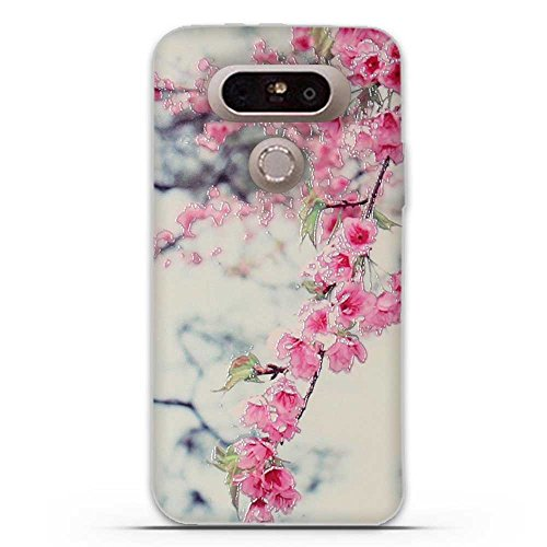 FUBAODA for LG G5 Case, 3D Emboss Pattern Beautiful Flower TPU Soft Case Rubber Silicone Skin Cover for LG G5