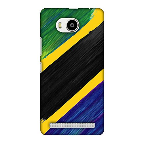 AMZER Slim Fit Handcrafted Designer Printed Snap On Hard Shell Case Back Cover for Lenovo A7700 - Tanzania Flag- Brush Strokes HD Color, Ultra Light Back Case