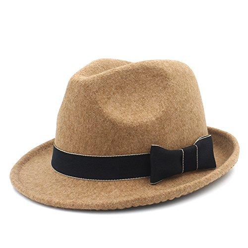 JDON-HAT, 2018 dames heren wollen hoed dames rijhoed trilby church Derby kap met modieus leer