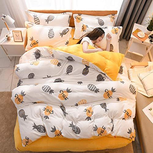 geek cook Winter Warm Flannel,2020 snowflake cashmere bedding set 3/4pcs flat sheet duvet cover set flannel fleece 3D printed winter AB side bed linen set new-yellow pineapple_Flat Bed Sheet_Twin