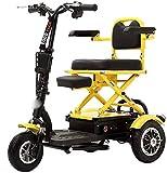 ZHANGCHAO Tres Ruedas pequeña batería Plegable Ocio para Adultos discapacitados Triciclo eléctrico de Litio Scooter para los Ancianos 12AH, a 30 km