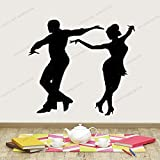 wZUN Calcomanía de Vinilo Dancer Companion Boy Female Latin Dance Etiqueta de la Pared 50X60cm