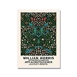 Impresiones y carteles de William Morris, cuadro de exposición de flores y hojas rojas Vintage, pintura en lienzo sin marco, D 60x80cm