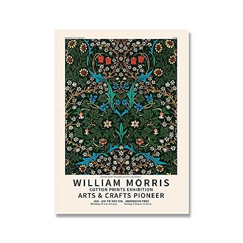 Impresiones y carteles de William Morris, cuadros de flores y hojas rojas Vintage, exposición artística, lienzo sin marco, pintura D 40x60cm