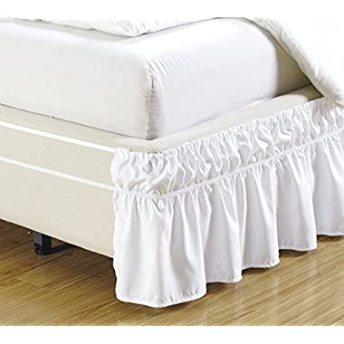 MK Home Mk Collection Wrap Around Style Easy Fit Elastic Bed Ruffles Bed-Skirt Queen-king Solid White New