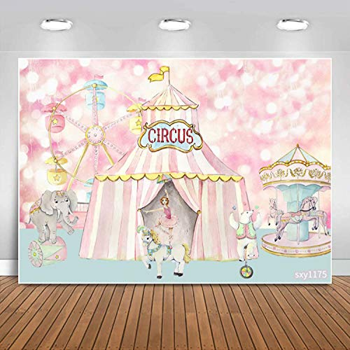 Sensfun Pink Bokeh Circus Backdrop Carnival Carousel Ferris Wheel Circus Tent Background for Girls 1st Birthday Party Decorations Baby Shower Newborn Cake Table Banner Photo Booth Studio Props 7x5ft