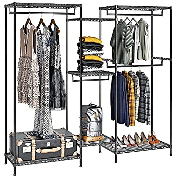 VIPEK 5 Tiers Wire Garment Rack Heavy Duty Clothes Rack Clothes Wardrobe Compact Extra Large Armoire Storage Rack Metal Clothing Rack 74.4  L x 17.7  W x 76.8  H Max Load 600LBS V6 Black