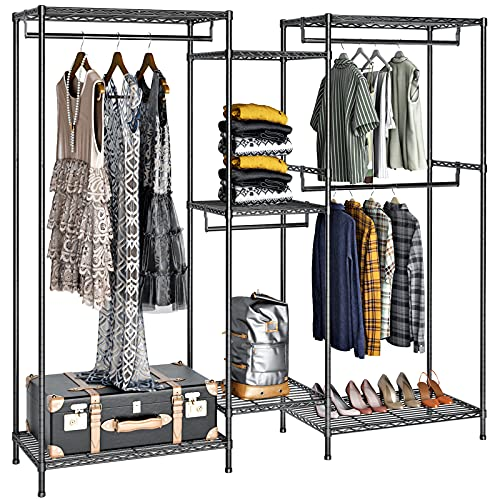 """VIPEK 5 Tiers Wire Garment Rack Heavy Duty Clothes Rack Clothes Wardrobe Compact Extra Large Armoire Storage Rack Metal Clothing Rack, 74.4"""" L x 17.7"""" W x 76.8"""" H, Max Load 600LBS, V6 Black"""