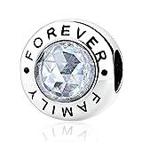 Everbling Happy Family Forever 925 Sterling Silver Charm Fits European Charm Bracelet (Family Forever)