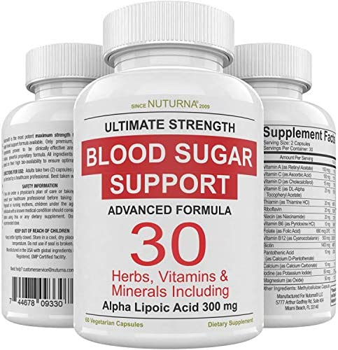 Blood Sugar Support Supplement 30 Herbs Vitamin Minerals Formula for Diabetic Blood Sugar Control product image